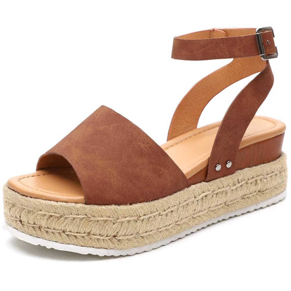 Athlefit Women's Platform Sandals Espadrille Wedge Ankle Strap Studded Open Toe Sandals Size 9 Brown by Athlefit