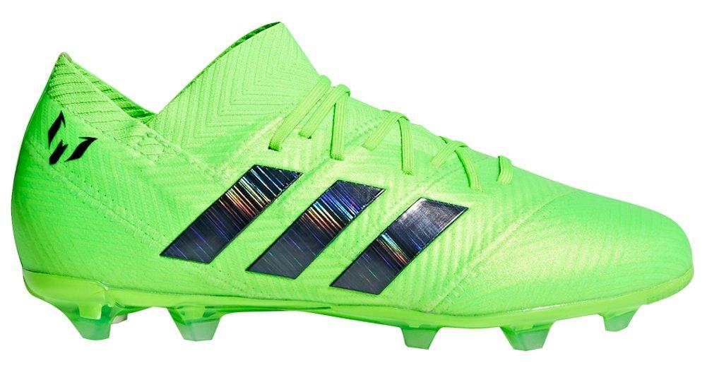 adidas Kid's Nemeziz Messi 18.1 FG Soccer Cleat, 4.0 D(M) US, Solar Green/Core Black
