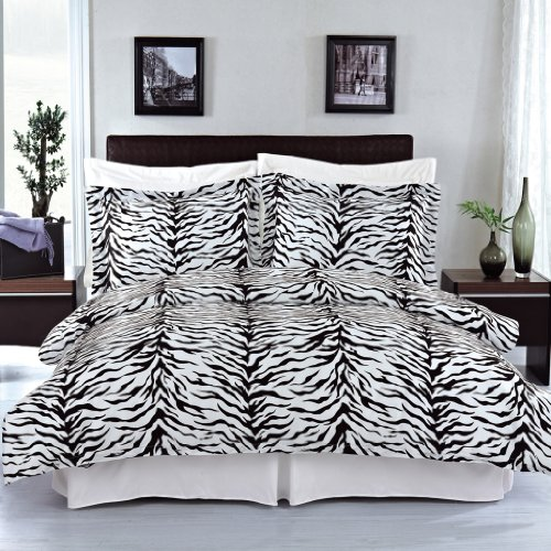 Luxurious FOUR (4) Piece Cal King Size Zebra Comforter Set. Luxury Set Includes100% LUXURIOUS EGYPTIAN COTTON 3 Piece Duvet CoverSet + 1 Piece Down Alternative Comforter
