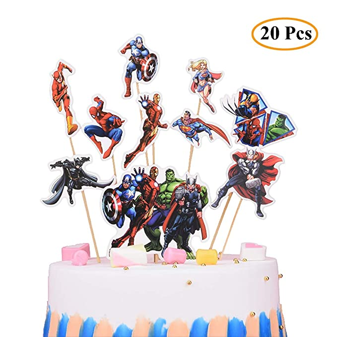 Pleasing 20Pcs The Avengers And Superheroes Cupcake Topper Children Party Funny Birthday Cards Online Elaedamsfinfo