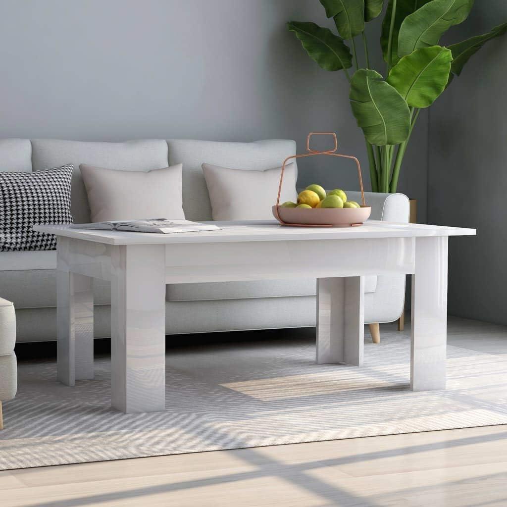 Festnight Tavolino da caff/è Tavoli da Divano per Soggiorno in Truciolato Bianco Lucido 100x60x42 cm