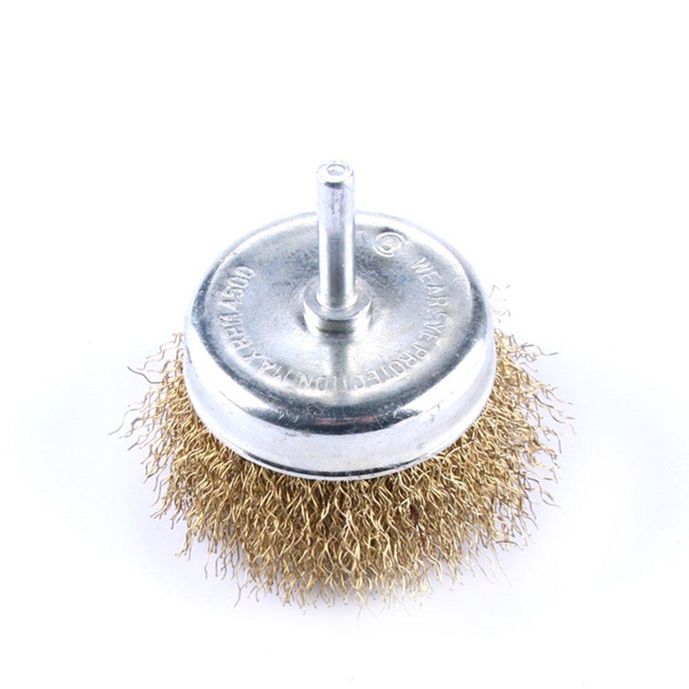 UEETEK Spazzola metallica tazza con diametro del gambo 3' aggraffato setole in acciaio si attacca alla maggior parte dei trivelli di potenza per pulire superfici di macchia