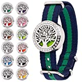 RoyAroma Aromatherapy Essential Oil Diffuser Bracelet, Stainless Steel Locket Bracelet Fabric Wristband with 12 Colors Refill Pads