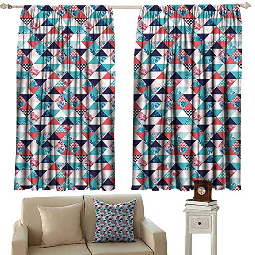 Room Darkening Wide Curtains Flamingo Horizontal Triangles Geometrical Frames with Exotic Beach Elements Mosaic Design Blackout Draperies for Bedroom Living Room W63 xL72 Multicolor