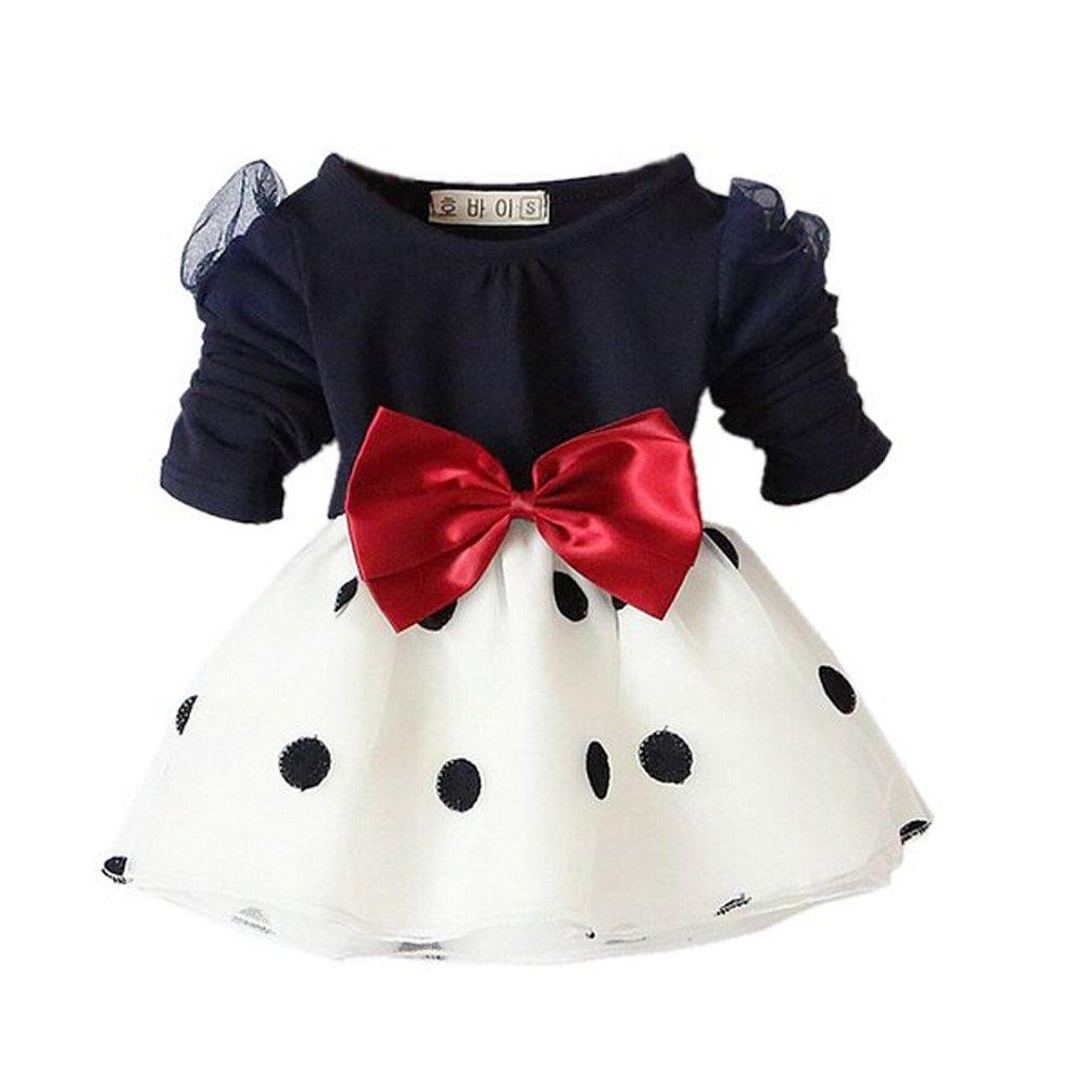 Arrowhunt Baby Mädchen Langarm Bowknot Polka Dots Organza Schwarz Kleider(für 3-24 Monate) EUJF0104BK(3-6)