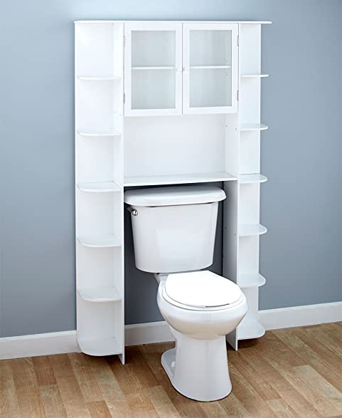 Deluxe Over The Toilet Space Saver White Cabinet
