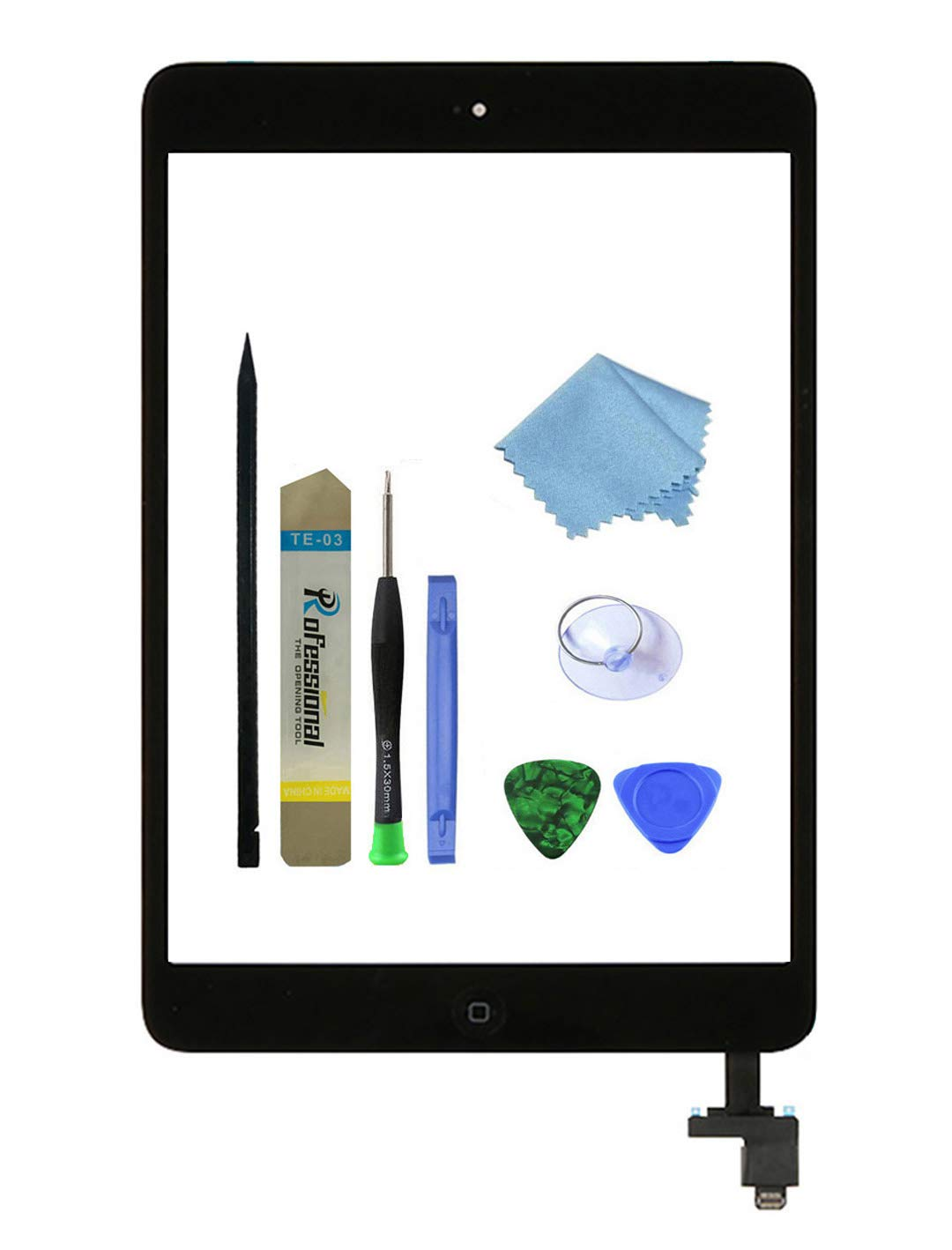 Zentop Black Touch Screen Digitizer for iPad Mini 1/2 Complete Assembly with IC Chip,Home Button,Camera Holder, Preinstalled Adhesive,Repair Toolkit.