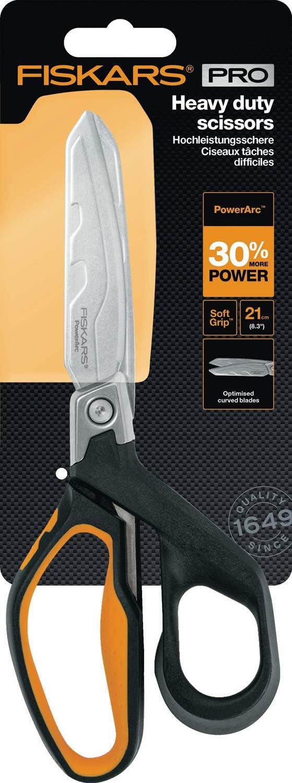 1027206 L/änge 12 cm Hitzebehandelte Klingen//Kunststoff Griff Schwarz//Orange Bis zu 30/% mehr Kraft Fiskars Hochleistungsuniversalschneider PowerArc
