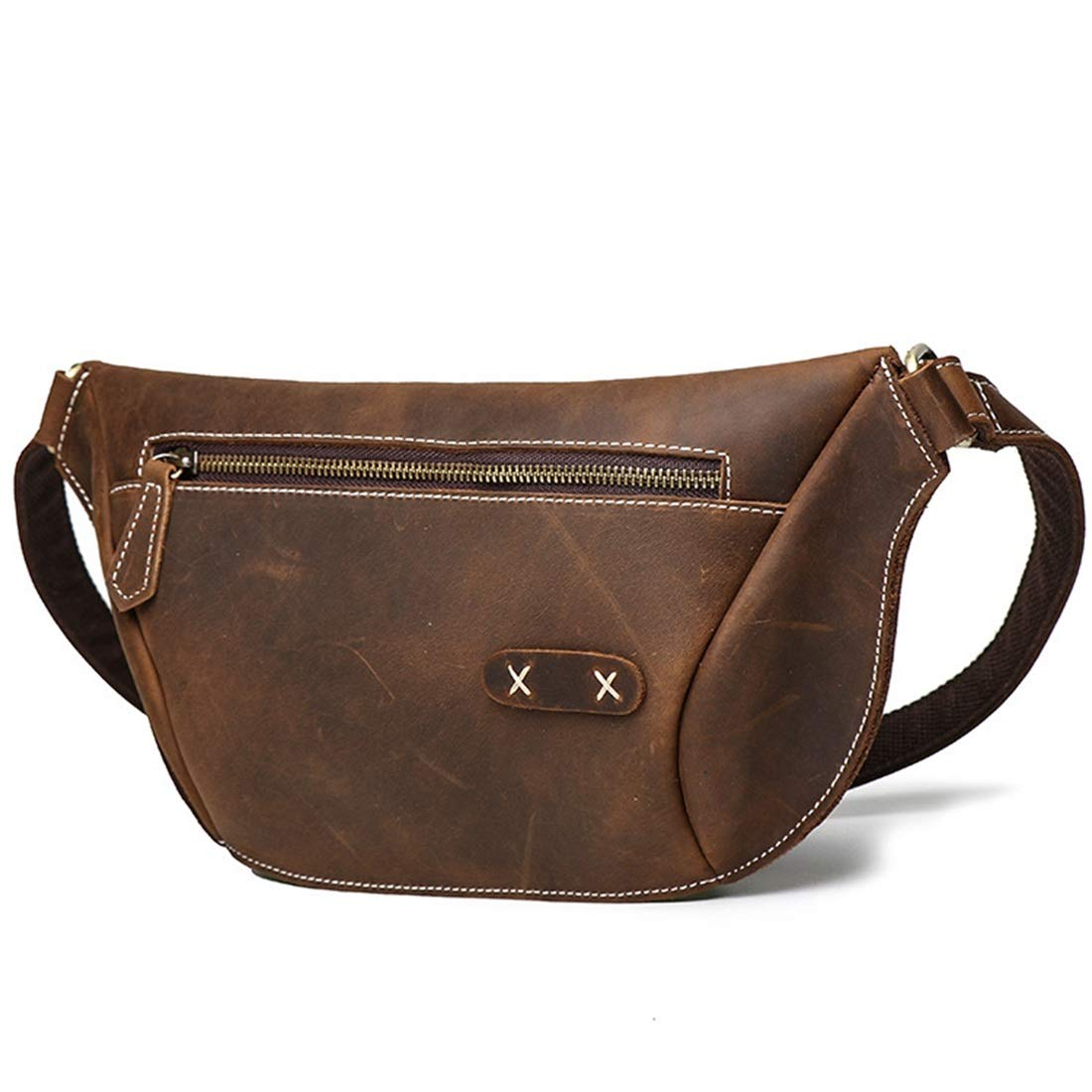 Color : Dark Brown Carriemeow Mens and Womens Leather Pockets Chest Shoulder Messenger Bag