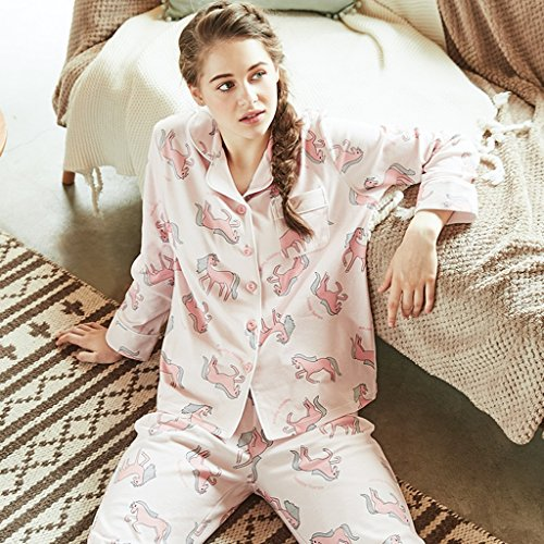 Pigiama Donne biancheria da notte Impostato indumenti da notte Abito in due pezzi Vestiti per la casa Può essere indossato all'esterno cortile signora ( Size : 160(84A) )