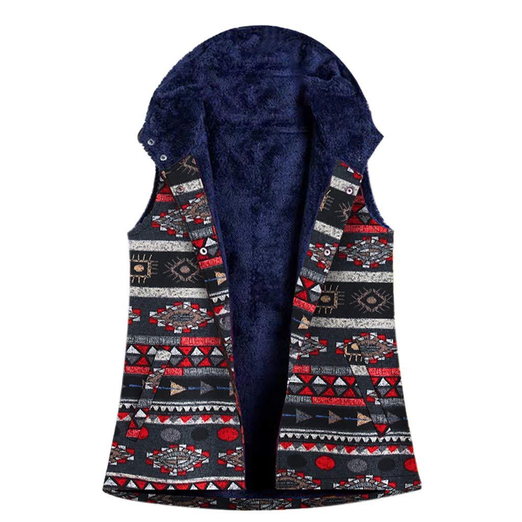 ✶ HebeTop ✶ Women Sleeveless Coats Parka Vest Women Vintage Print Flannel Lining Hooded Pocket Oversize Outercoat