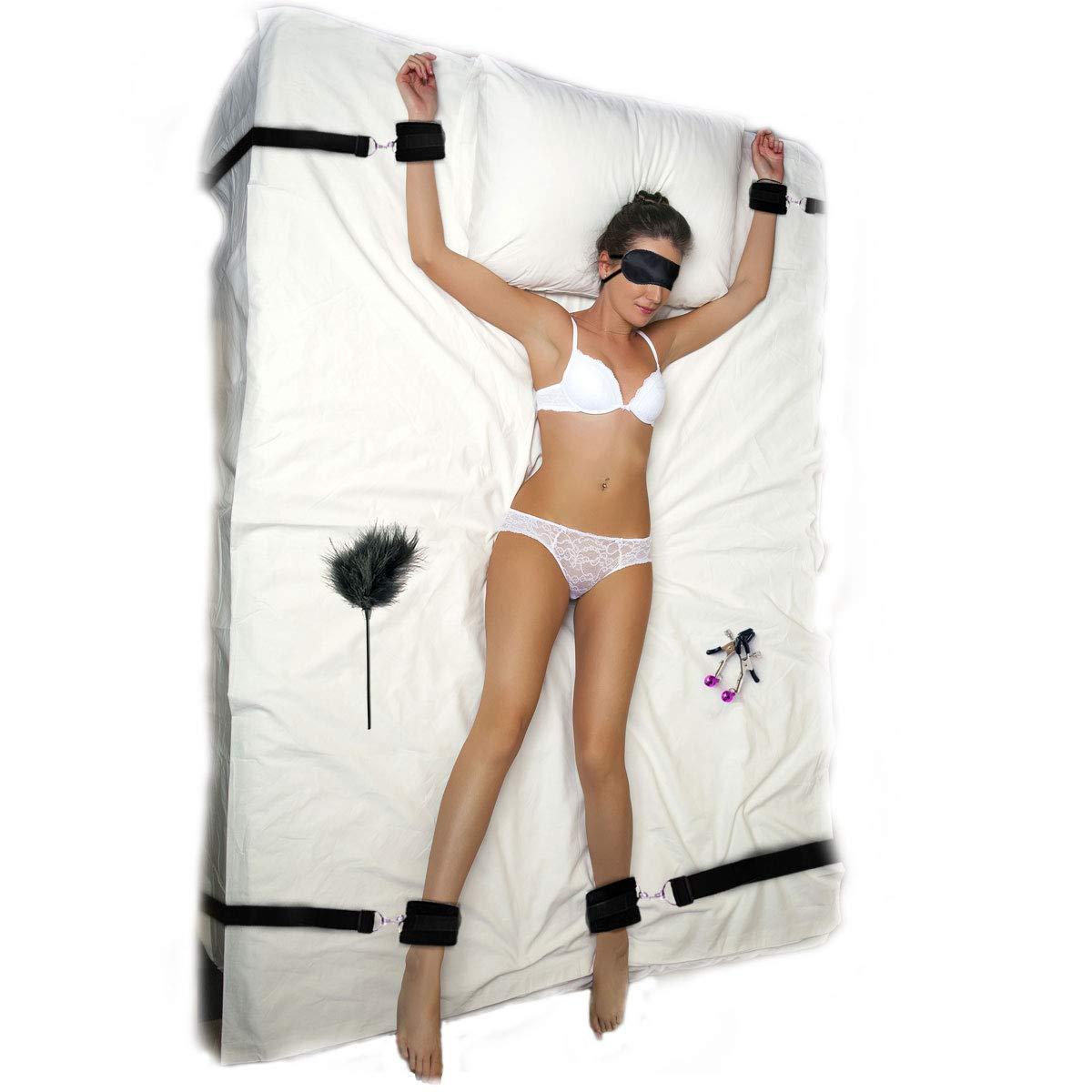 Bed Bondage Restraints Kit Sex Toys for Sex Games Under Mattress Fetish Adjustable Bed Restraints Set SM for Couples Adult Beginner Handcuffs Clips Blindfold Feather Teaser by Nanchor
