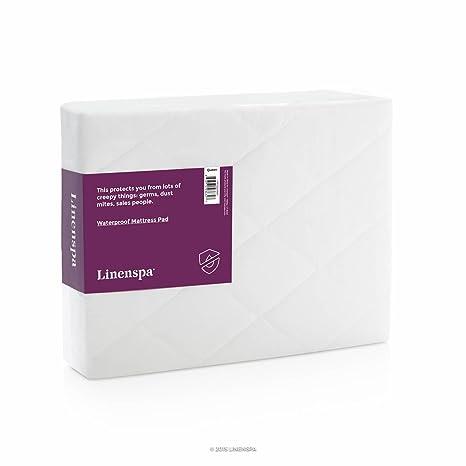 LinenSpa hipoalergénico almohadilla de colchón impermeable con transpirable acolchada cubierta de microfibra