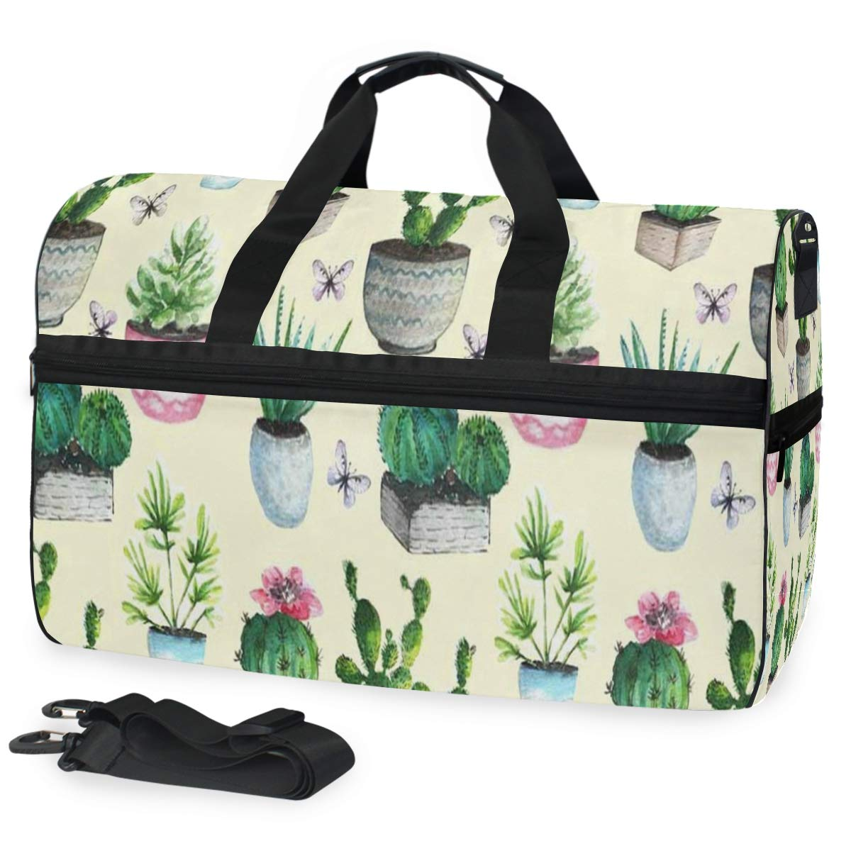 Travel Tote Luggage Weekender Duffle Bag Cactus Succulent Boho Style Large Canvas shoulder bag with Shoe Compartment