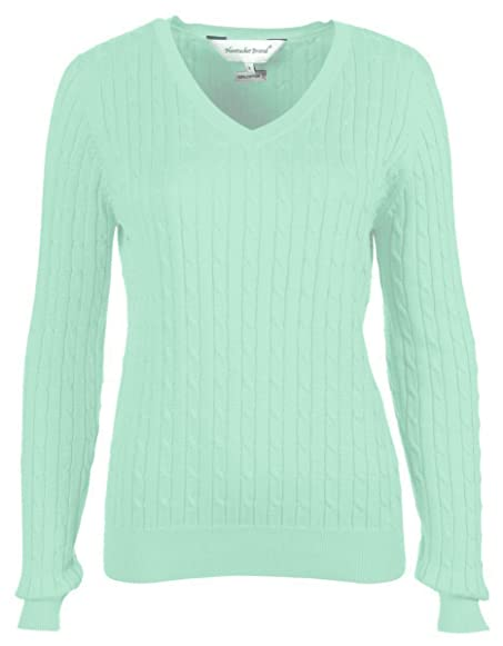 Bahama Blue Women's Cotton Cable Knit V-Neck Sweater at Amazon ...