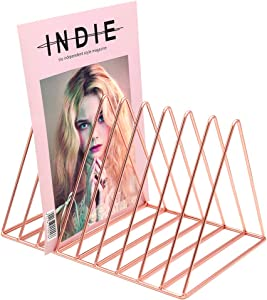 Files Folder Stand Desktop File Organizer, Copper Wire Book Shelf Magazine Rack, 9 Slot File Sorter Eye-catching Decoration for Indoor Office Home, Photography Props, Fashion in INS (Rose Gold)