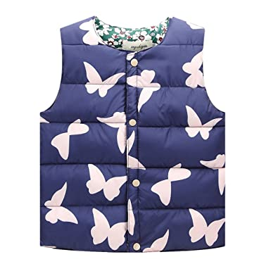 241541e355ba Zhuhaitf Little Girls Fashion Gilets Jacket Kids Cute Butterfly Print Down  Vest - DARK BLUE -: Amazon.co.uk: Clothing