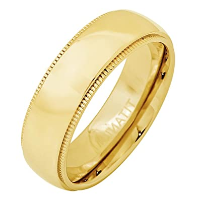 7mm Titanium Yellow Gold Plated Domed with Milgrain Wedding Band