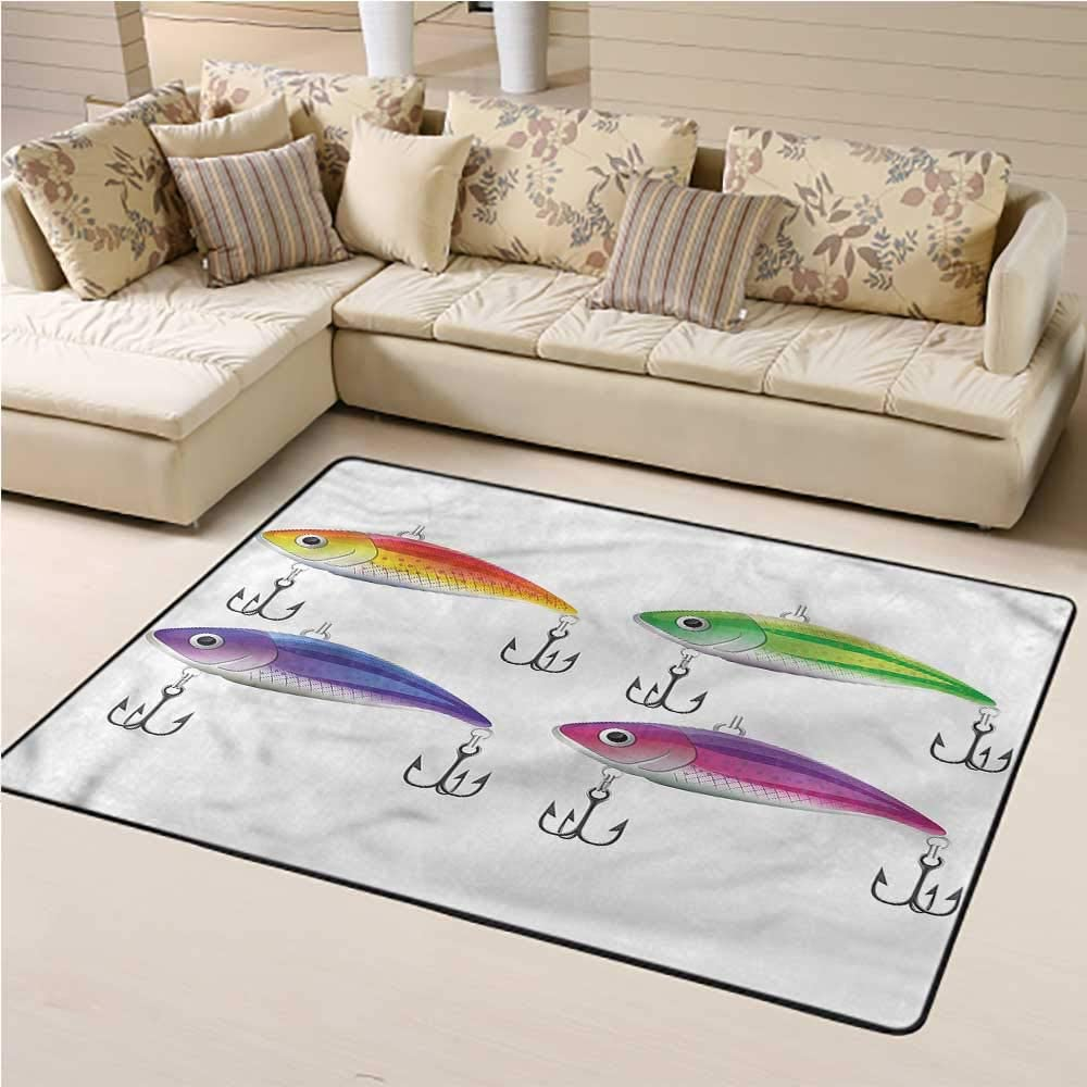 "Indoor Modern Area Rugs Fishing Yoga Mat Rug Colorful Bait Pattern Hooks Floor Mats Carpet for Frontdoor Kitchen Bedroom (5'7""x8'6"")"