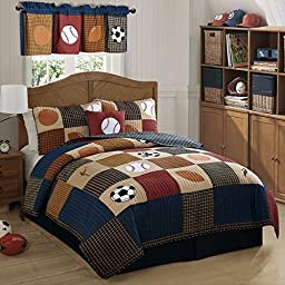 2 Piece Boys Sports Quilt Twin Set, Kids All Over Patchwork All Star Plaid Sport Bedding, Fun Multi Soccer Ball Baseball Basketball Football Patch Work Themed Pattern, Blue Orange Red Tan Brown