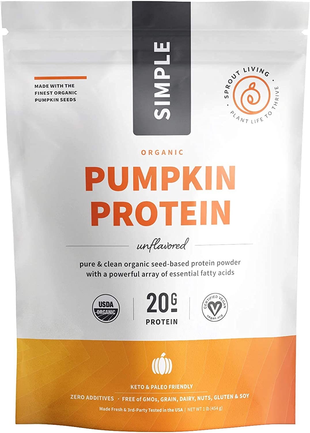 Sprout Living Simple Pumpkin Seed Protein Powder, 20 Grams Organic Plant Based Protein Powder without Artificial Sweeteners, Non Dairy, Non-GMO, Vegan, Gluten Free, Keto Drink Mix (1 Pound)