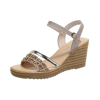 b8cb9b2c76 Ladies Sandals Jamicy Women Girls Sequins Crystal Round Toe Summer Wedge  Platform Sandals Shoes (35