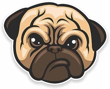 2 x Grumpy Pug Dog Vinyl Sticker Car Travel Luggage #9531