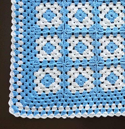 Crochet Blue and White Baby Granny Square Blanket, Crocheted New Born Blanket