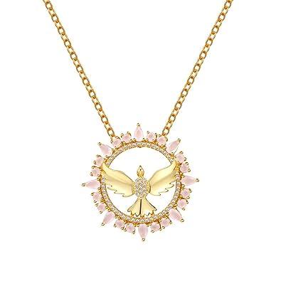 18K Gold Plated Simulated Rose Quartz Cubic Zirconia Angel Teardrop Pendant Necklace sYUj1