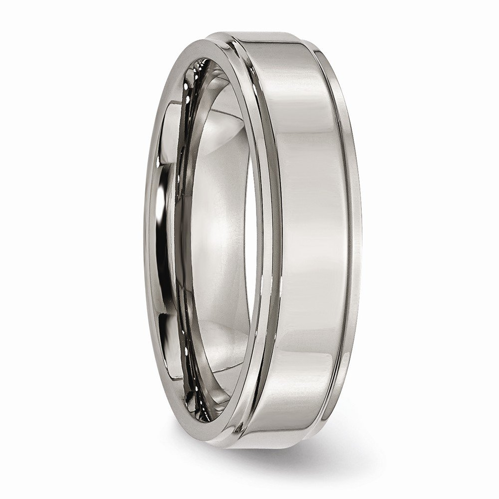 FB Jewels Solid Titanium Ridged Edge 6mm Polished Wedding Band