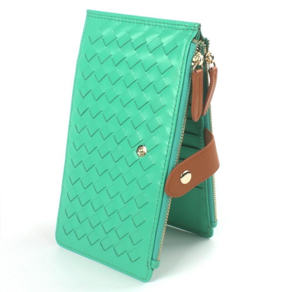 Penao Schaffell Karte Tasche Tasche Tasche Damen Leder Multikarte Klemme große Weben Zipper Wallet Ultra-dünnen Karton Ärmel 19.5cmx10.8cmx1.3cm B07C77GBDB Geldbrsen 20c052