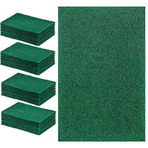 DecorRack 28 Large Cleaning Scouring Pads for Kitchen, Dishes, Bathroom, Household, Large Heavy Duty Non Scratch Scour Pad, Scrubber Sponge Dish Pads, Green (Pack of 28) ()