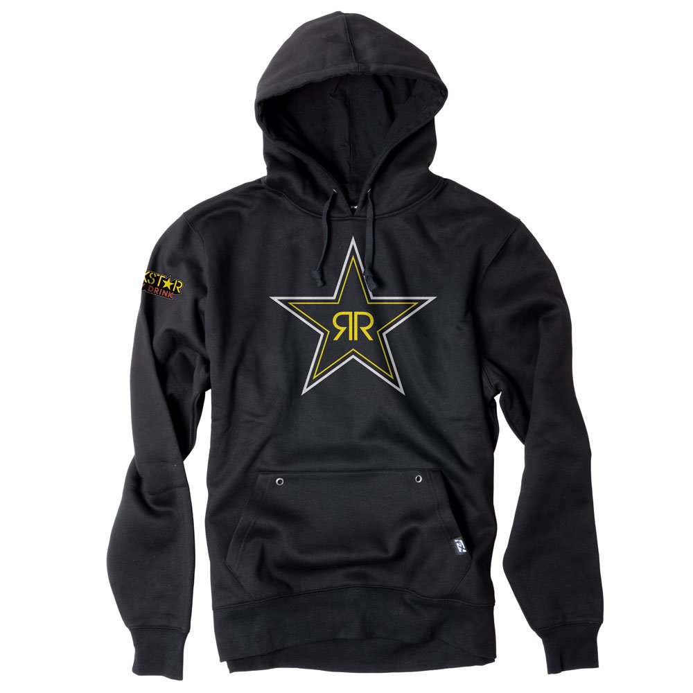 Factory Effex Unisex-Adult Rockstar Blackstar Hooded Sweatshirt (Black, Large), 1 Pack 21-88604