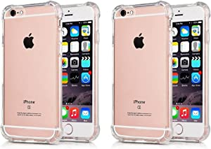 [2Pack] CaseHQ Compatible with iPhone 6 Plus Case, iPhone 6S Plus Case,Crystal Clear Enhanced Grip Protective Defender Cover Soft TPU Shell Shock-Absorption Bumper Air Cushioned 4 Corners-Clear+Clear