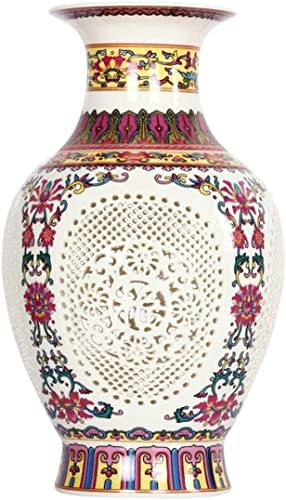 Antique Chinese Style Palace Restoring Ancient Ways Jingdezhen Hollow White Ceramic Vase Decoration Flower Vases,Red,R