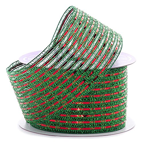 Metallic Tinsel Striped Christmas Ribbon - 2 1/2