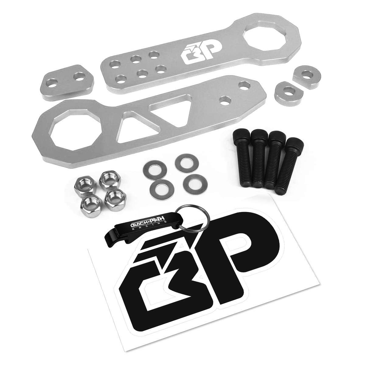 BlackPath - Honda + Acura Front and Rear JDM Racing Style Tow Hook Set (Silver) T6 Billet Black Path