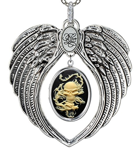 Angel Wings Locket I Love You Charm Necklace Photo Pendant Fashion Jewelry 2 Chain Pouch for Gift (Dragon Skull) (Locket Skull)