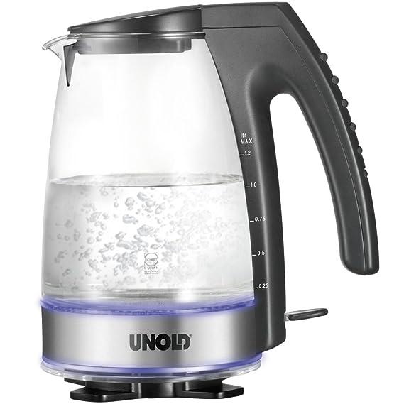 Unold 18590, Negro, Transparente, AC 230 V, 50 Hz, 140 x 205 x 245 mm, Vidrio, Plástico - Calentador de agua: Amazon.es: Hogar