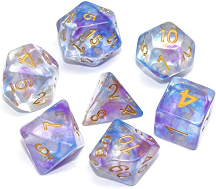 D/&D Pathfinder MTG Tabletop Role Playing Game Translucent 7-Die Dice Set HD DND Dice Set Purple /& Milky RPG Polyhedral Dice Fit Dungeons and Dragons
