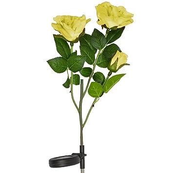 Solar Yellow Rose Flower Lights , Solar Powered Garden Outdoor Decorative  Landscape LED Rose Lights Year