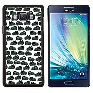 Eason Shop / Premium SLIM PC / Aliminium Casa Carcasa Funda Case Bandera Cover - Dibujo Negro Gatos Wallpaper - For Samsung Galaxy A7 ( A7000 )