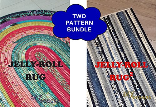 Bundle of 2 Patterns: Jelly Roll Rug (Original Oval), and Jelly Roll Rug 2 Squared (Rectangular)