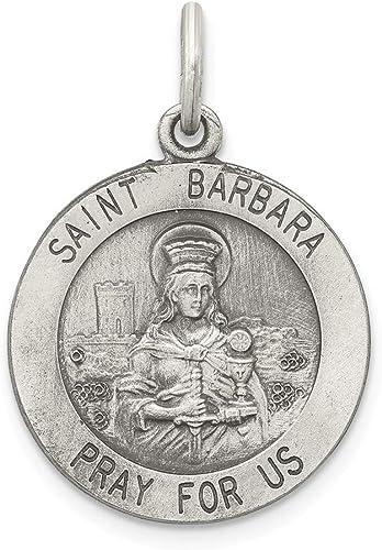 925 Sterling Silver Antiqued Saint Barbara Medal