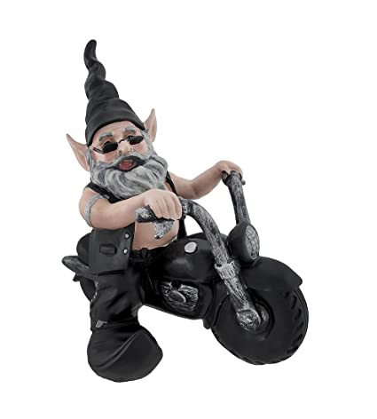 Attractive Zeckos Resin Outdoor Statues `Gnoschitt Rides Again` Biker Garden Gnome On  Motorcycle Statue 12