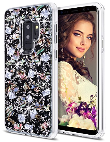 Coolden Galaxy S9 Plus Case, Luxury Glitter Case with Shells Foil Cute Girly Durable Shockproof 2-Layers Solid PC Cover Case + Flexible TPU Frame Compatible with Samsung Galaxy S9+ Plus, Silver Shell