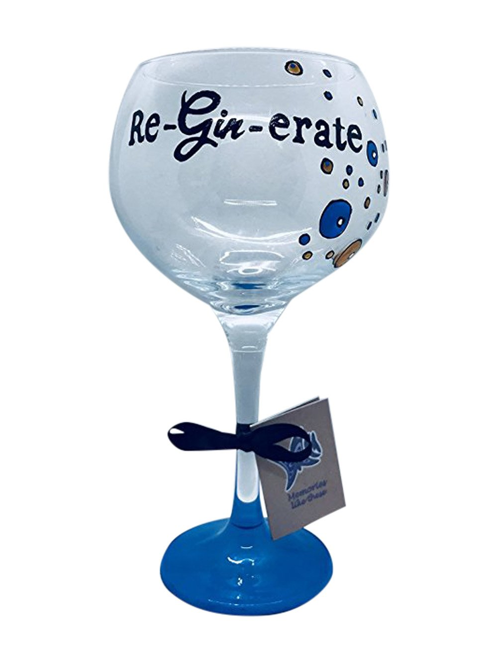 Blue Copa glass, Gin and Tonic Novelty gift, Large Gin And Tonic glass, Reginerate with bubble detail hand painted by memories-like-these