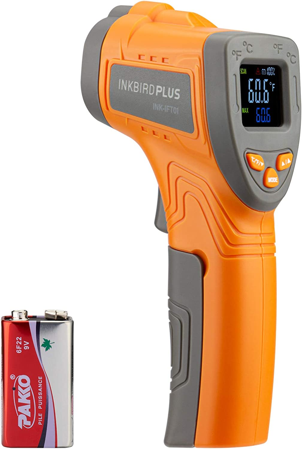 Inkbird Infrared Thermometer, Non-Contact Digital Temperature Gun with Adjustable Emissivity and Max Measure Instant Read Thermometer for Cooking, Barbecue, Automotive, and Industrial (NOT for Human)