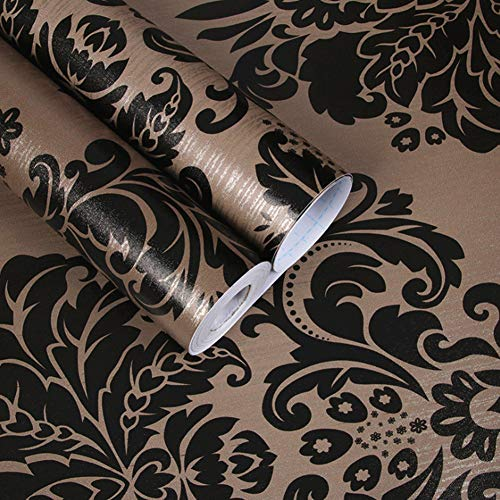 Amao Black and Brown Damask Peel Stick Wallpaper Wall Mural for Livingroom Bedroom 17.7''x78.7'' ()
