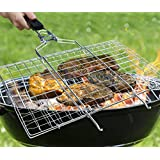 AONOKY BBQ Grilling Basket,13.9 x 8.9in Foldable & Portable 430 Stainless Steel Grill Basket with Removable Wooden Handle
